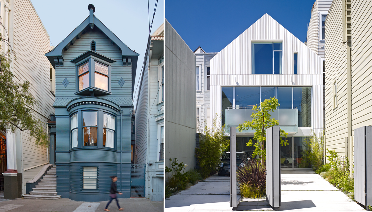 Curbed sf janus house has two fa ades one old one new for Modern homes san francisco